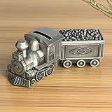 Banco de ahorro de dinero, aleación hecha de trenes retro Forma de bolsillo de bolsillo de banco de ahorros para decoración de mesa