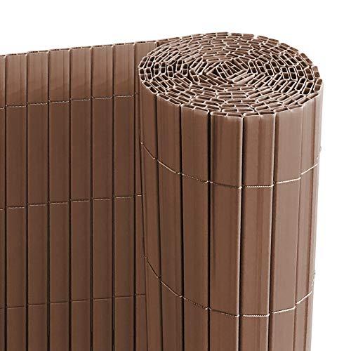 Ribelli® PVC Sichtschutzmatte mit Steg, extra stabil Sichtschutzzaun Sichtschutz Zaun Balkon Windschutz (140 x 500 cm, braun)