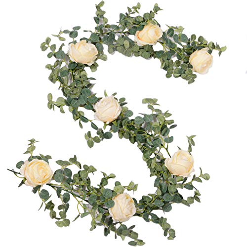 Eucalyptus Garland with Peony Flowers - Faux Greenery Garland for Farmhouse Wedding, Table or Home Decor (Light Champagne Peonies)