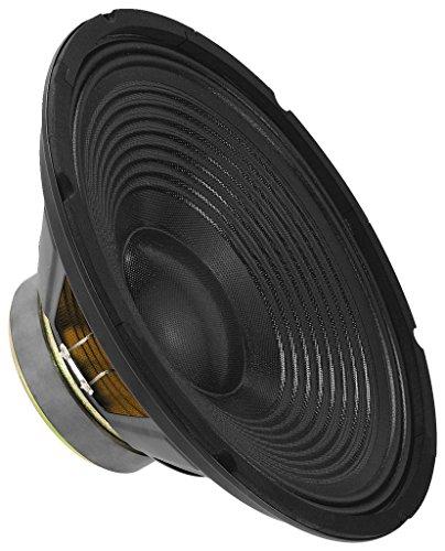 MONACOR SP-302PA Universal-Tieftöner mit 100 Watt Nennbelastbarkeit und einer Impedanz von 8 Ohm, Bass-Lautsprecher mit einer Größe von 12 Zoll, in Schwarz