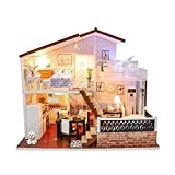 DIY Dollhouse Wooden Miniature Furniture Kit Handmade Pink Loft DIY Mini Real Modern House Room Assembly Building Kit Festival Birthday Gifts for Adults Girls with LED Light Dust Cover Music Movement