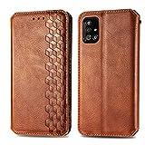 Trugox Handyhülle für Samsung Galaxy A51 Hülle Leder Klapphülle mit Kartenfach Ständer Flip Hülle für Galaxy A51 - Braun