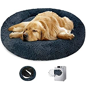 KROSER 24″/32″/40″ Donut Dog Cat Bed Self-Warming & Washable Round Bed Deluxe Soft Plush Cushion Pet Bed