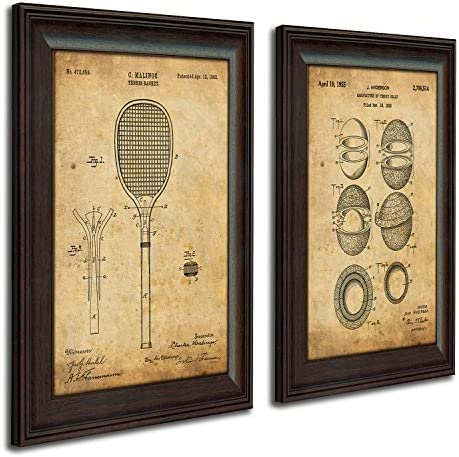 Personal Prints 2 pc Framed Modern Patent Set Tennis Racket and Tennis Ball 14 x17 Each product image