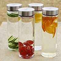 JUICE BOTTLES - Water, Milk and Juice glass bottle with air tight cap, 500ml, transparent Glass Airtight Water Bottle...