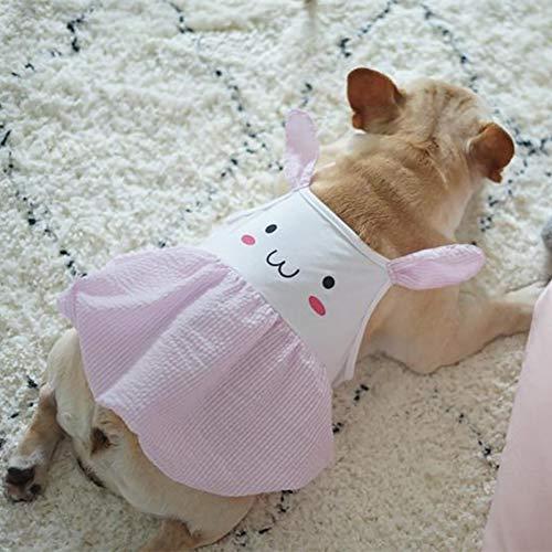 Modow Pet Dog Lichtgewicht Ademende zomerjurk met Bunny Smiley Print voor kleine en middelgrote honden.