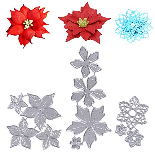 3 Juegos de Troqueles Navidad Scrapbooking de Metal Diseño Navideños Flores Troqueles de Corte Plantillas Dies Cut Tarjeta Papel Decoración Manualidades