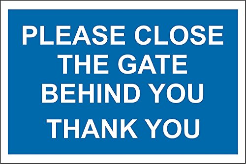 Please Close Gate Behind you Thank You Sign–1.2mm, in plastica 300mm x 200mm