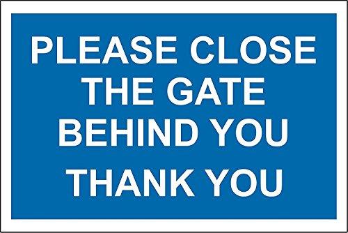 Sluit de poort achter u Dank u teken - 1.2mm rigide plastic 300mm x 200mm