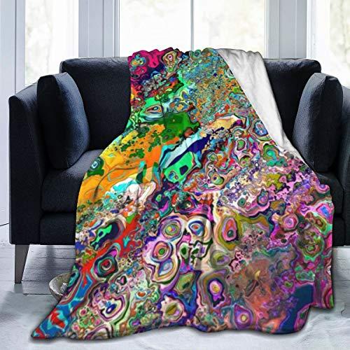 surce Tripple psychedelische vrije kleur vormen gooien deken super zachte fuzzy gezellig warm pluizig pluche deken voor bed bank stoel woonkamer herfst winter lente