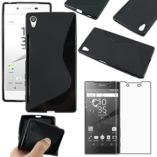 ebestStar - kompatibel mit Sony Xperia Z5 Premium Hülle Z5 Prime TPU S-line Style Silikongel Handyhülle, Schutzhülle Case Cover, Schwarz + Panzerglas Schutzfolie [Phone: 154.4 x 75.8 x 7.8mm, 5.5'']