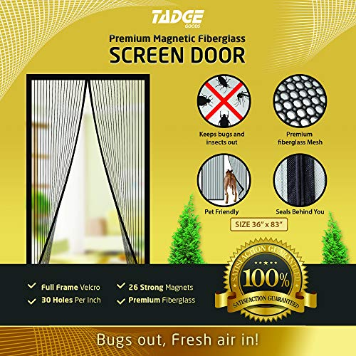 "Magnetic Mesh Bug Screen Door - Strong Magnets, Premium Fiberglass Curtain - Full Frame Magnets with Self-Seal Easy Open and Close Design | Anti Bug & Insect | Pet Friendly - 36x83"" Max"