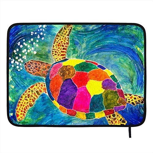 Dish Drying Mat for Kitchen,Absorbent Drying Pad Dishes Drainer Mats Pot Holder 24×18in Beautiful And Colorful Sea Turtle