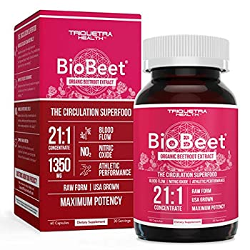 BioBeet® Max Strength Beet Root Capsules - 21 1 Concentrate Each Serving Derived from 28,350 mg Organic Beetroot - Absorption Enhancement with BioPerine® Black Pepper Extract  60 Capsules