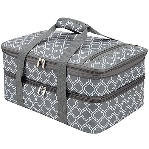 FATOLXX Insulated Casserole Carry Bag - Decker Casserole Carrier Tote Food Bag Potluck Parties,Picnic,Cookouts,Traveling,Beach(Laurel Green -2)