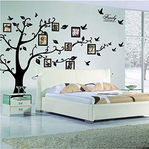 Kibi Pegatinas Decorativas Pared Arbol con Fotos Arbol con Hojas Negro Pegatinas de Pared Arbol con Ramas para Colocar Fotos Stickers Pared Arbol