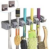 Broom Mop Holder Wall Mount Garage Storage Organizer - 5 Slot 6 Hooks