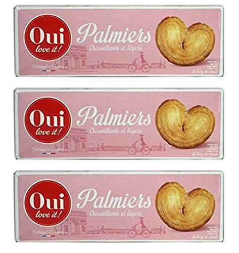 From France Oui Love It French Puff Pastry Cookies Palmiers 100g (3.52oz) Pack of 3