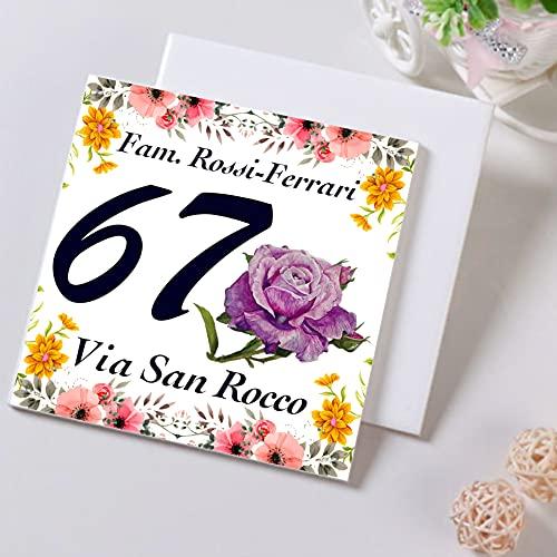 Numero Civico in Ceramica PERSONALIZZABILE,Numero Civico su Mattonella in Ceramica 15x15cm con Indirizzo e Nome Famiglia Personalizzato,Numeri Civici Moderni.