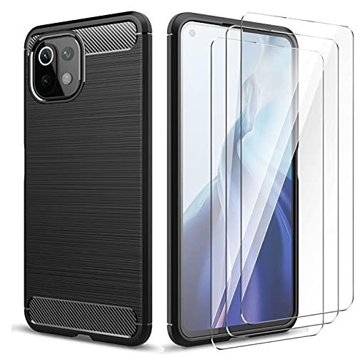 CQiuLi Cover per Xiaomi Mi 11 Lite 4G / 5G + 3 Pezzi Vetro Temperato, Flessibile Soft TPU Spazzolato Custodia in TPU Morbido Fibra di Carbonio, Cover Protezione Anti Scivolo/Antiurto - Nero