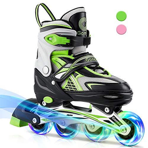 Gonex Inline Skates for Girls Boys Kids, Adjustable Skates Outdoor Blades Inline Roller Skates for Teens Women with Light Up Wheels for Indoor Outdoor Backyard Skating, Green L