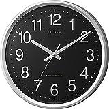 シチズン 掛け時計 電波 アナログ サークルポート 見やすい オフィス タイプ 黒 銀色 CITIZEN 4MYA24-002