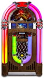 ARKROCKET Saturn V Jukebox Vinyl Record Player • USB • SD • AUX • AM/FM Radio • MP3 • CD-Player • Rainbow LED Light Up • 50s Classic Style • Full Size Floor Standing Retro Style - Dark Oak