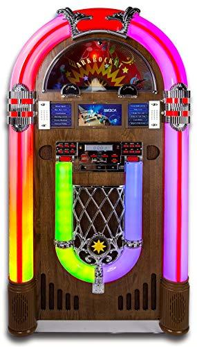 ARKROCKET Saturn V Jukebox Vinyl Record Player • USB • SD • AUX • AM/FM Radio • MP3 • CD-Player • Rainbow LED Light Up • 50s Classic Style • Full Size Floor Standing Retro Style - Dark Oak