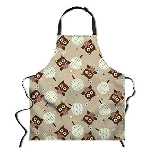 spArt Owl Schürze, Unisex Küche Lätzchen mit verstellbarem Hals-Krawatte für das Kochen und Backen Garten Adult Schürzen Eule mit Schürzen Printed Hellgelb