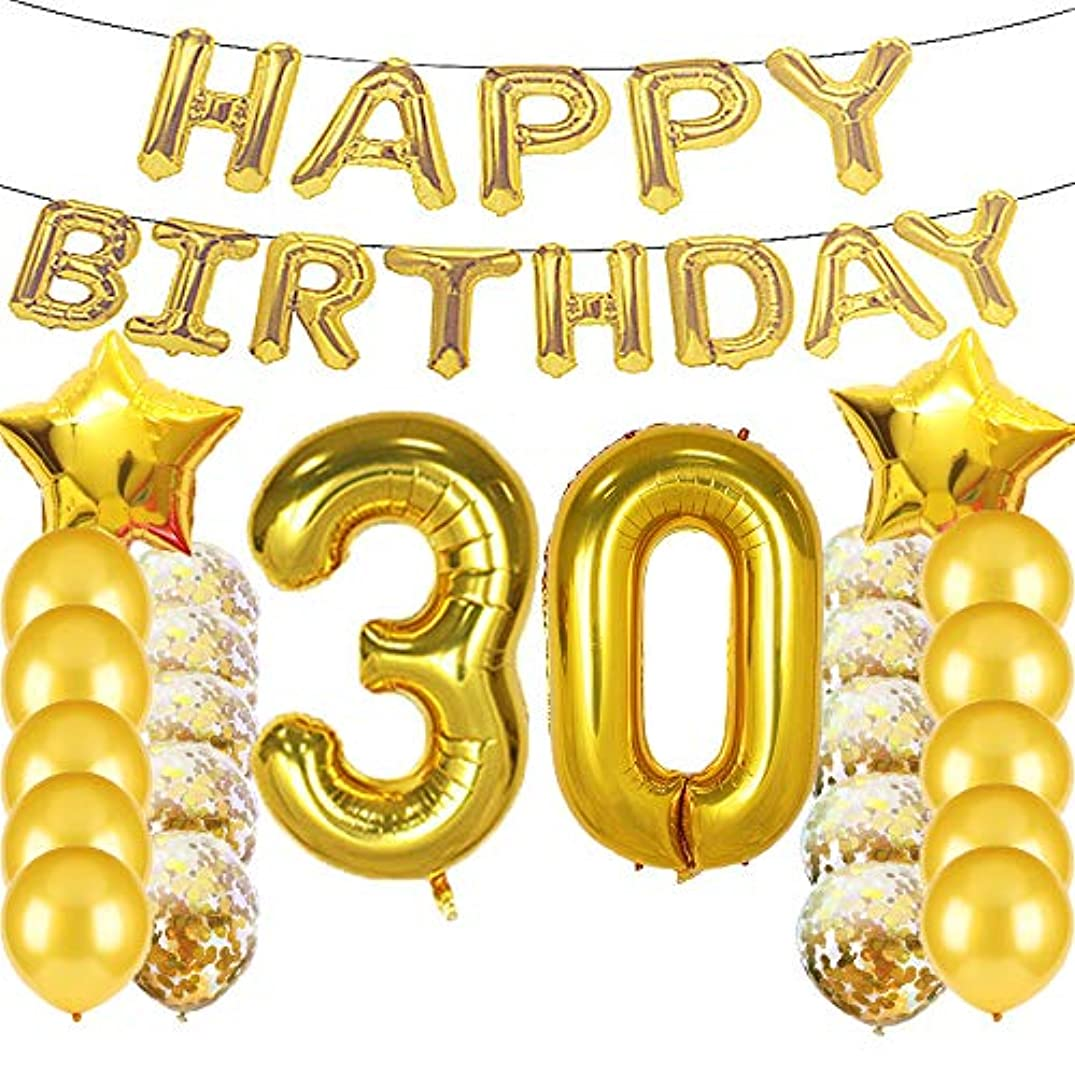 Sweet 30th Birthday Decorations Party Supplies,Gold Number 30 Balloons,30th Foil Mylar Balloons Latex Balloon Decoration,Great 30th Birthday Gifts for Girls,Women,Men,Photo Props