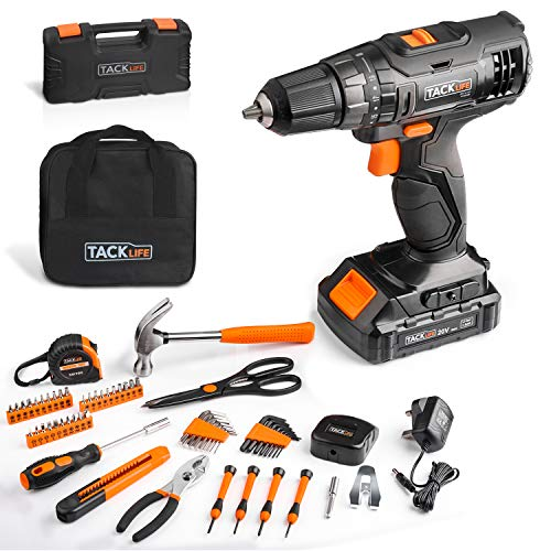TACKLIFE 20V Cordless Drill & 57PCS Home Tool Set,Variable Speed Drill with 19+1 Torque Setting, Toolbox and Storage Case Included - PHK06B
