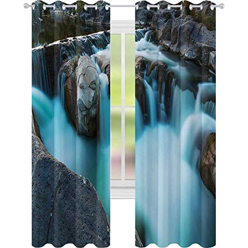 Cortinas opacas para dormitorio, cascada, basalto, paisajes rurales, parque nacional, naturaleza, madera, 52 x 108, cortina opaca para sala de estar, azul cielo, gris y verde