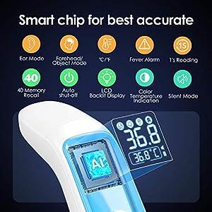 Fieberthermometer IDOIT Digitales Infrarot Thermometer 4 in 1 Multifunktion,Medizinisches Stirn und Ohrthermometer, Dreifarbiger Fieberalarm, Ideal Für Baby, Kind, Erwachsene