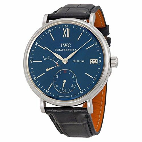 IWC Herren-Armbanduhr, 45 mm, schwarzes Lederband, Stahlgehäuse, Saphirglas, automatisches blaues Zifferblatt, Analoguhr, IW510106