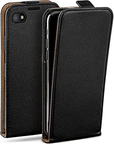 moex Flip Hülle für BlackBerry Z30 - Hülle klappbar, 360 Grad Klapphülle aus Vegan Leder, Handytasche mit vertikaler Klappe, magnetisch - Schwarz
