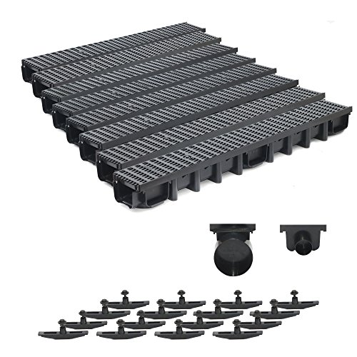 8m Entwässerungsrinne Belastungsklasse B125, 98mm komplett SET Stegrost Kunststoff (schwarz)