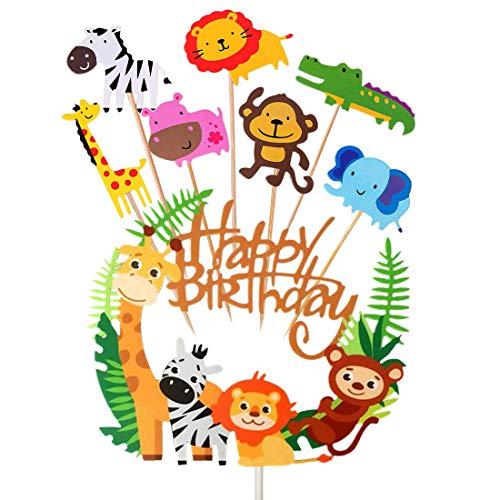 HONGECB Animales Cupcake Toppers, Animales Decoraciones Torta para Decorar la Tarta de Niños Cumpleaños, Baby Shower Fiesta de cumpleaños decoración de la Torta Suministros, 36 Piezas