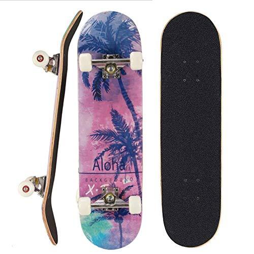 Sumeber Skateboard per principianti 80 x 20 cm, tavola completa con cuscinetti ABEC-7 doppio kick, regalo di compleanno per bambini, ragazzi e adulti (Albero di cocco)
