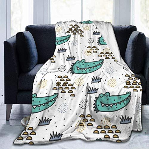 ngxianbaimingj manta de franela, patrón de doodle de cocodrilo cosido borde acogedor, alfombra térmica portátil para cama sofá de 80 x 60 pulgadas