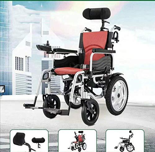 MMJC Motorisierter Rollstuhl, Deluxe Fold Faltbarer Power Compact Mobility Aid Rollstuhl, Leichter zusammenklappbarer elektrischer Rollstuhl