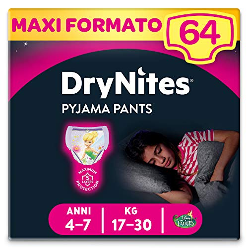 Huggies Drynites Mutandine Assorbenti per la Notte per Bambina, 17-30 Kg, Confezione da 64 Pezzi (4 x 16)