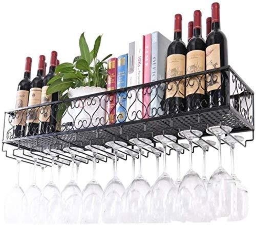 DNSJB - Estante de metal para colgar en la pared, soporte para botellas de vino, soporte para colgar al revés, para decoración de pared, 80 x 25 x 17 cm