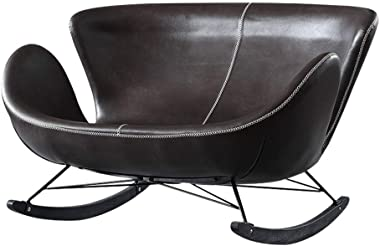 ch-AIR Single Leather Rocking Chair Smooth Rocking Motion,Double Sofa Solid Wood Base Leisure Lazy Lounge Chair,Suitable for