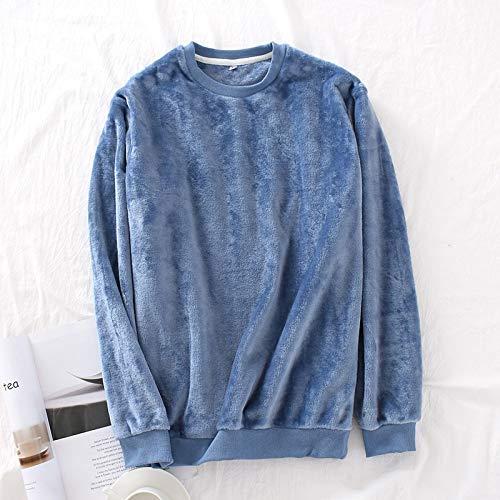 Ycxydr Schlafanzug M Neue Winter warm Flanellhemd Feste Einteilige Hülse Bequeme Pyjamas große Oberbekleidung Bikini Bademantel (Color : Blue2, Size : L)