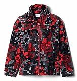 Columbia Chaqueta de forro polar Zing Iii para niño, Impresión de tejido rojo de montaña, Large