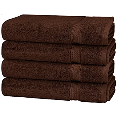 Utopia Towels 700 GSM Cotton 16-Inch-by-28-Inch Hand Towel Set, Set of 4, Dark Brown