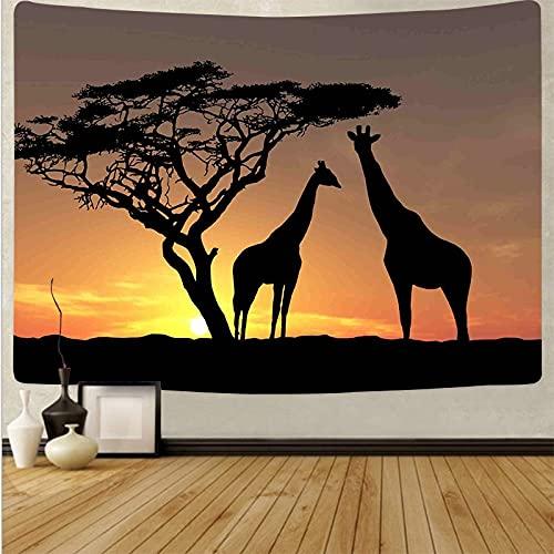 Sombra animal tapiz psicodélico Mandala tapiz atardecer paisaje Yoga Toalla de playa Hippie tapiz de tela de fondo A5 180x230cm