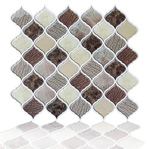 Peel and Stick Tiles Backsplash para Kicthen - Etiqueta engomada decorativa del azulejo del arabesco del azul árabe, pegatina de pared autoadhesiva para la cocina del baño RV, palo en la pared Backspl