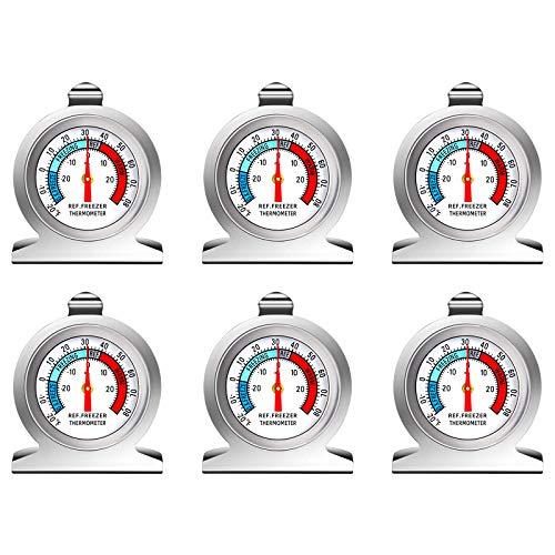 Thlevel Termometro da Frigo in Acciaio INOX Termometro per Congelatore e Frigorifero con Gancio per Appendere per Casa, Ristoranti, Bar (6 Pezzi)