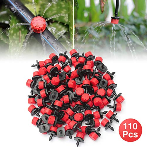 OUTERDO 110 Pcs Irrigation Drippers Sprinklers Emitter Drip Watering Kit Accessories Anti-Clogging 360° Adjustable Save Water 1/4' Barb Dripper Replacement for Flower beds, Vegetable Gardens, Lawn